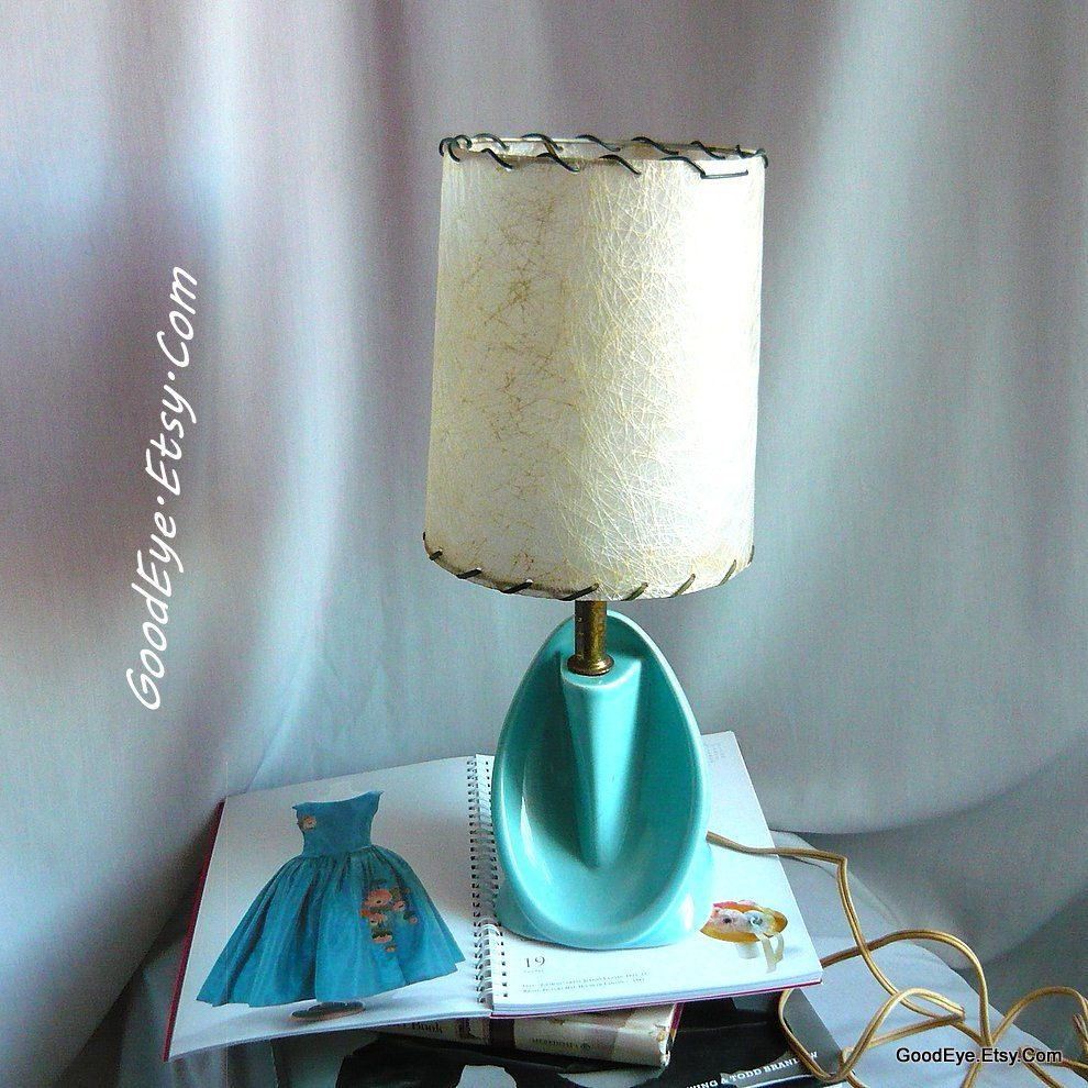 Vintage 50s Ceramic Bedroom Lamp w Shade Small Turquoise Blue CURVY One or PAIR Same Price Table Top Nightstand Mcm Atomic is part of bedroom Blue Lamps - GoodEye section id 5155225 Thanks for the look