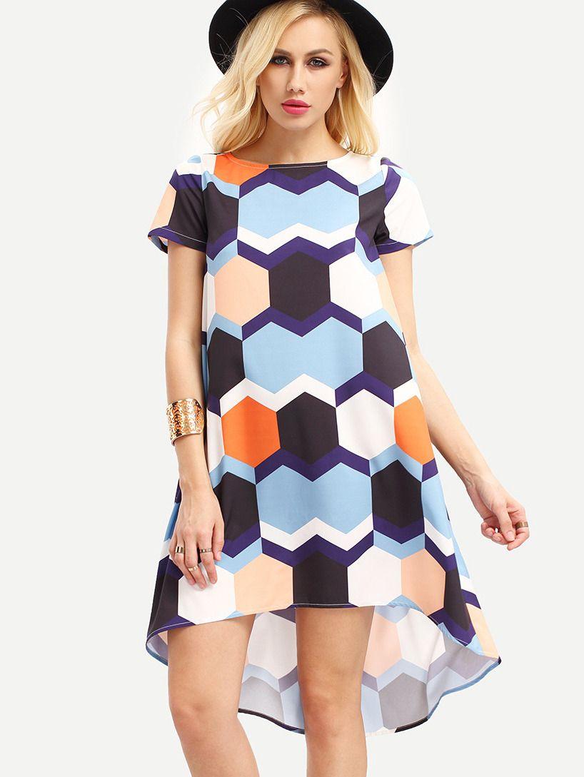Multicolor Short Sleeve Print High Low Dress Shein Sheinside Vestidos [ 1089 x 818 Pixel ]