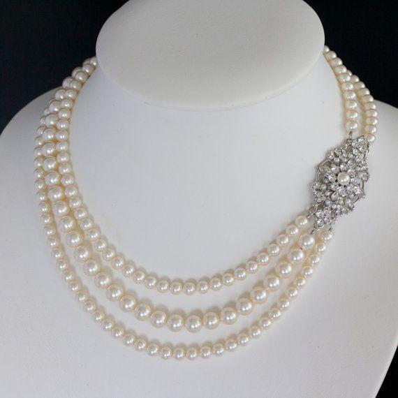 Wedding Jewelry Pearl statement necklace Crystal by LuluSplendor