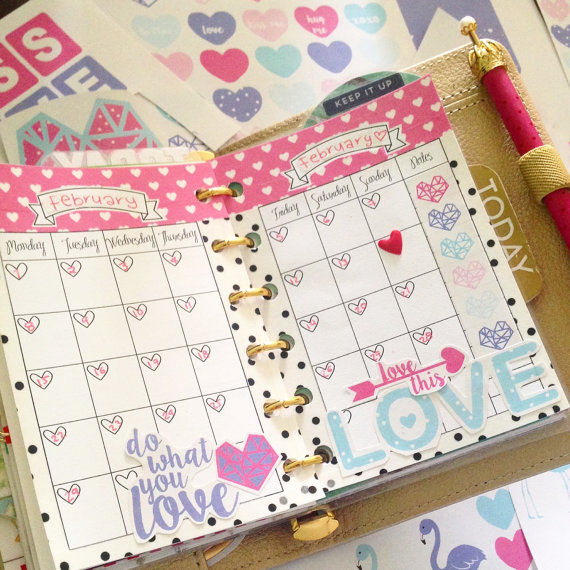 month on 2 pages hearts planner inserts pocket size purse