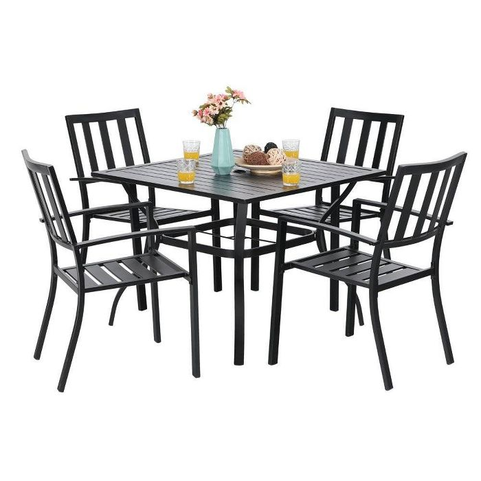 5pc Metal Indoor Outdoor 37 Square Striped Dining Table With Arm Chairs 1 57 Umbrella Hole Captiva Designs Outdoor Tables And Chairs Patio Dining Set Outdoor Dining Set