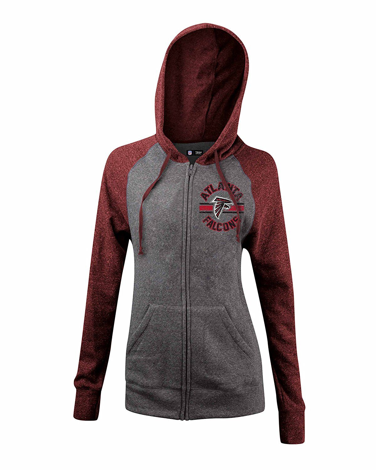9233ccc24 Amazon.com   NFL Ladies Tri Blend Fleece Zip Up Hoodie with Contrast  Sleeves and Hood   Sports   Outdoors