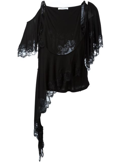 19559cbcd48 GIVENCHY Asymmetric Lace Trim Top. #givenchy #cloth #top | Givenchy ...