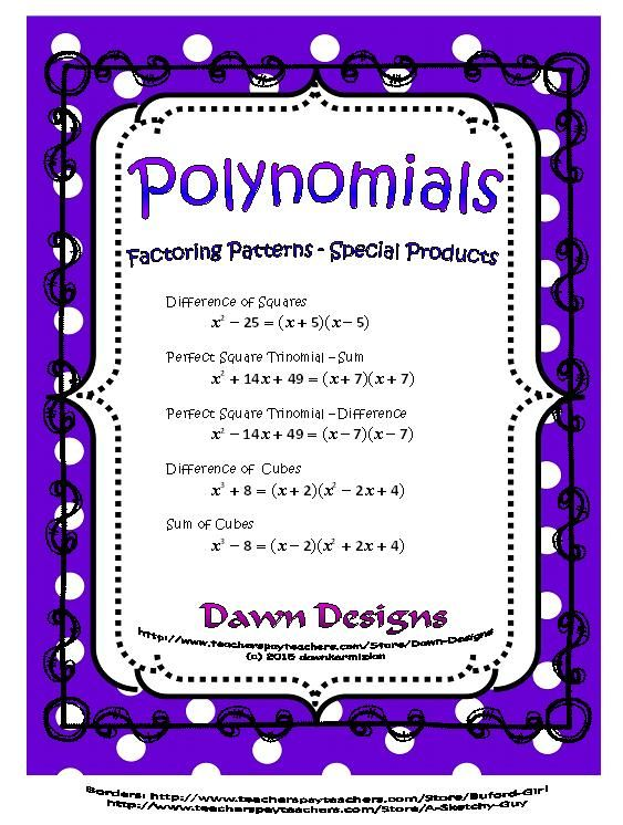 Polynomials Factoring Patterns Difference Of Squarescubes
