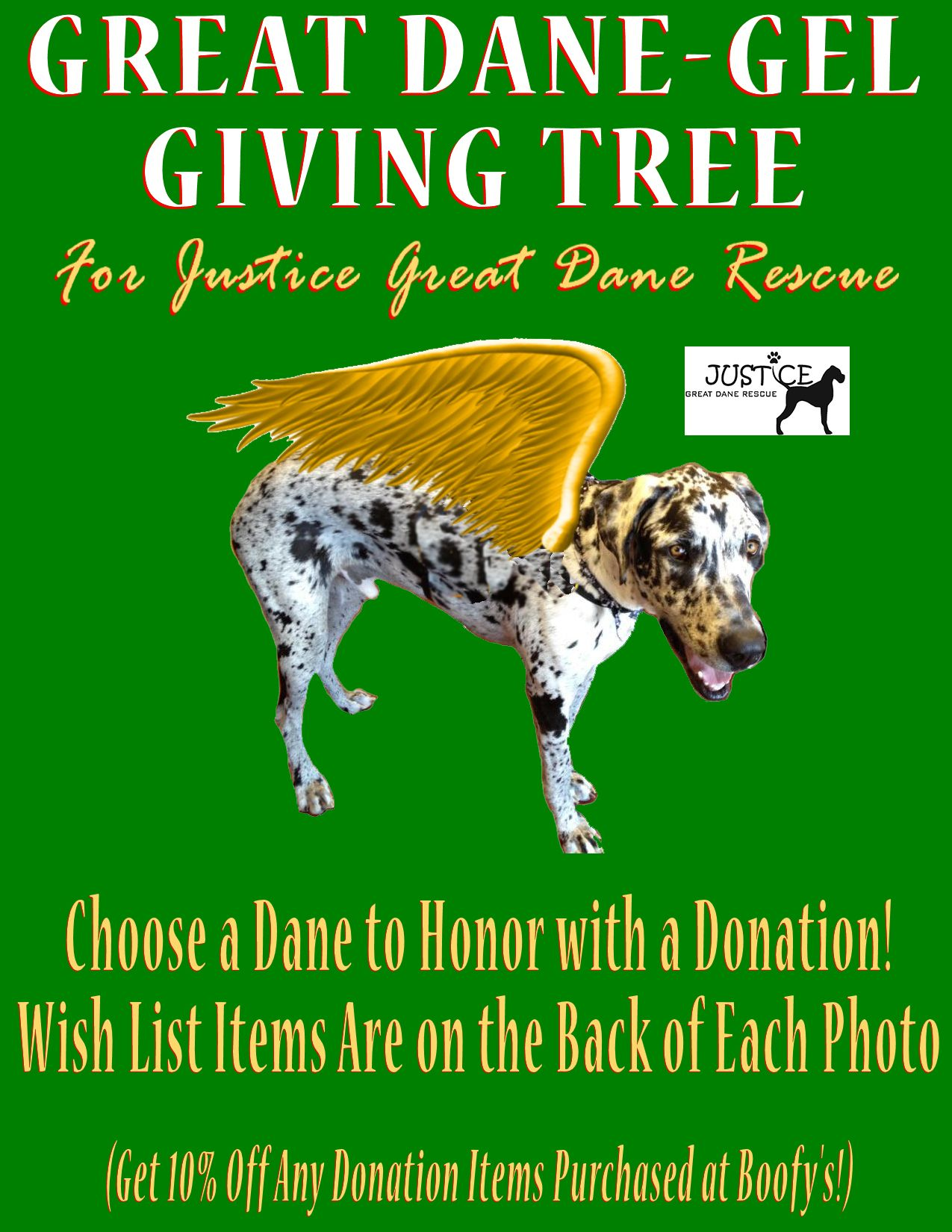 Great Danegel Giving Tree benefiting Justice Great Dane