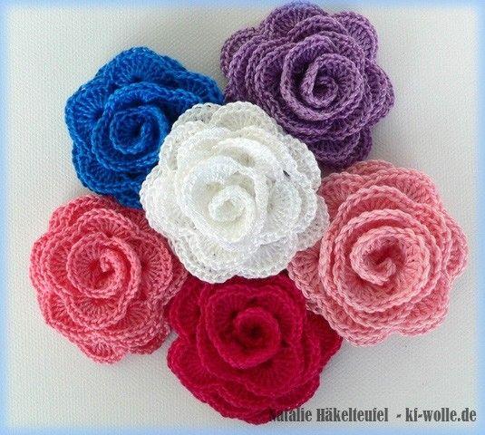 Häkelanleitung - Rose mit Blätter - ganz schnell Rosen häkeln zum ...