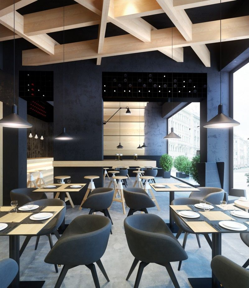 Projet 3d design d 39 interieur restaurant le bristol vue d for Interieur design