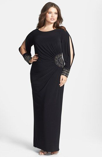 Xscape Embellished Stretch Jersey Long Dress (Plus Size ...