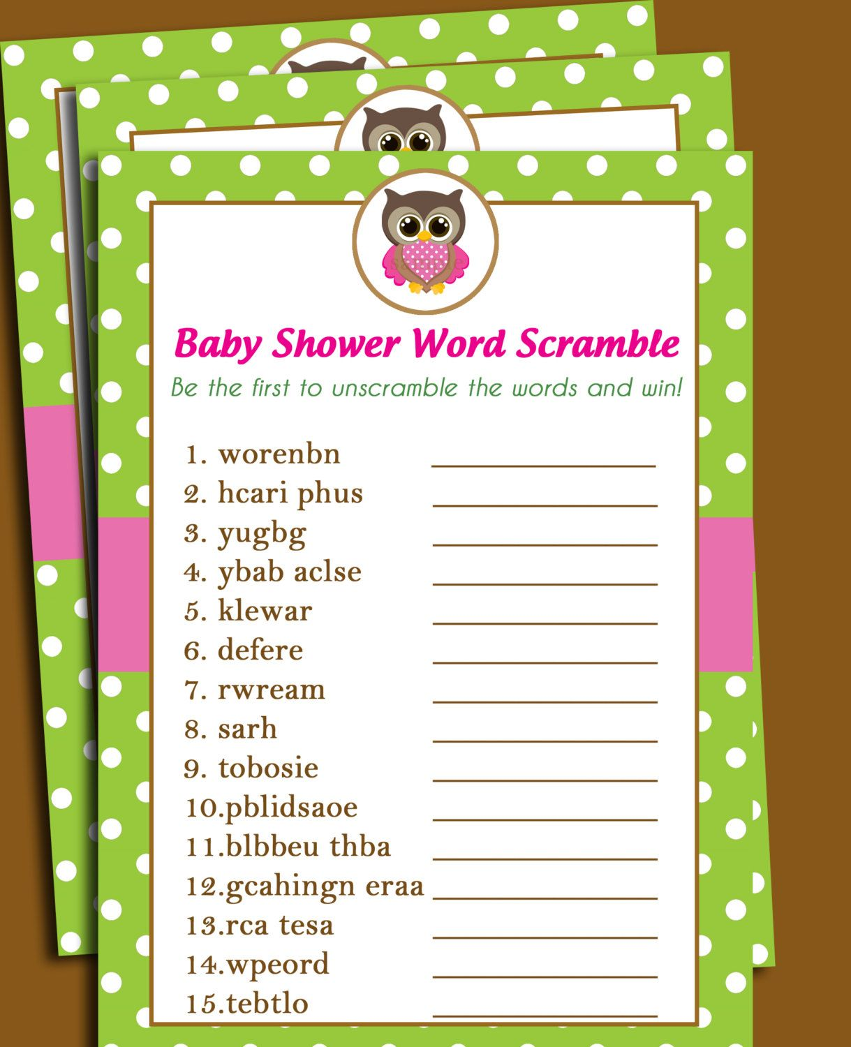 Owl Baby Shower Word Scramble Printable Lil By