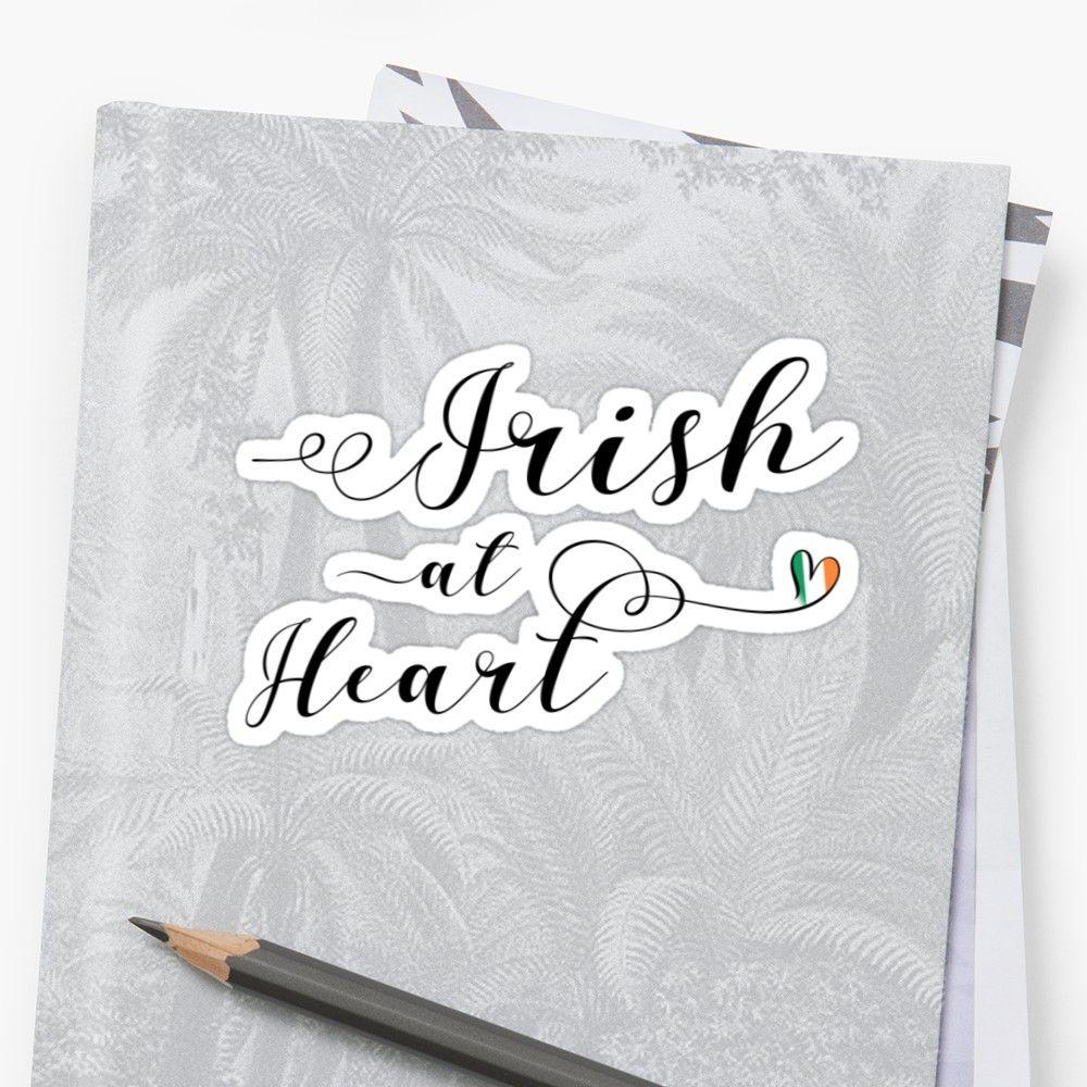 Irish At Heart Sticker, Ireland Sticker Sticker Heart