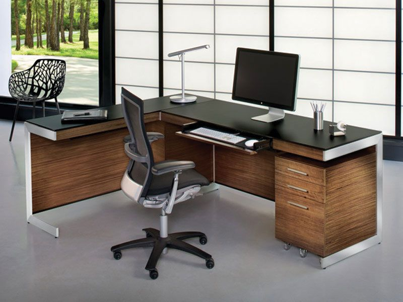 Keyboard Tray And L Shaped Desk Very Nice A Little Too Modern