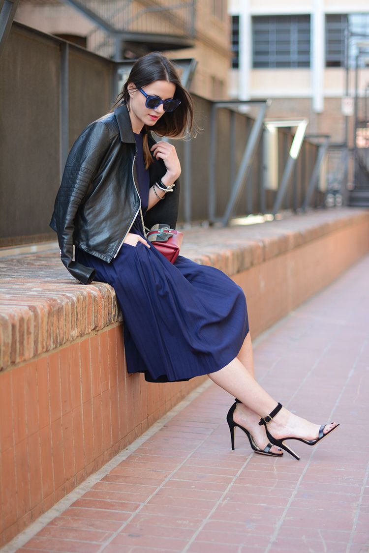 Zina of Fashionvibe channels sophisticated edge in J BRAND's Aiah Leather Jacket in Black.
