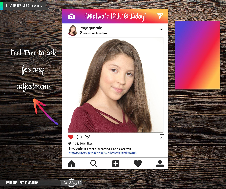 Instagram Birthday Invitations Instagram Invitation Instagram