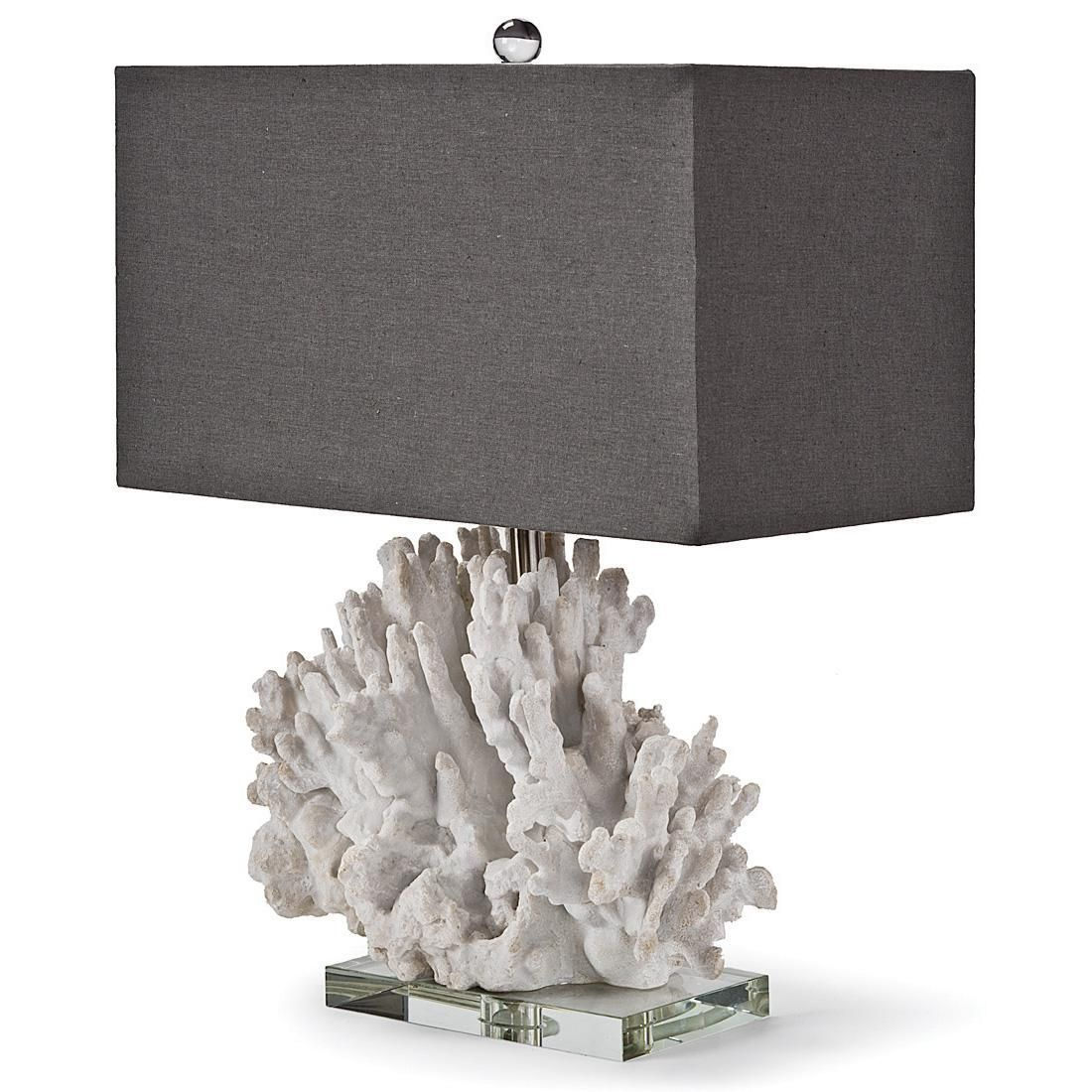 Monterey Coastal Beach Charcoal White Coral Table Lamp   Beach Style   Table  Lamps   Kathy Kuo Home