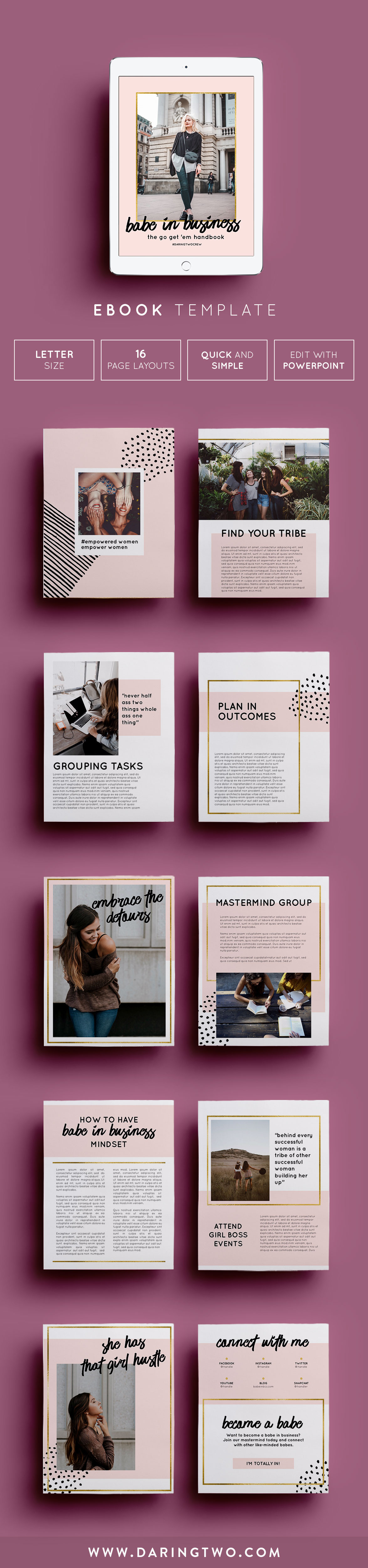 V4 ebook template 16 pages fully editable customizable ebook template magazine layout girl boss gold pink 16 pages fully alramifo Gallery
