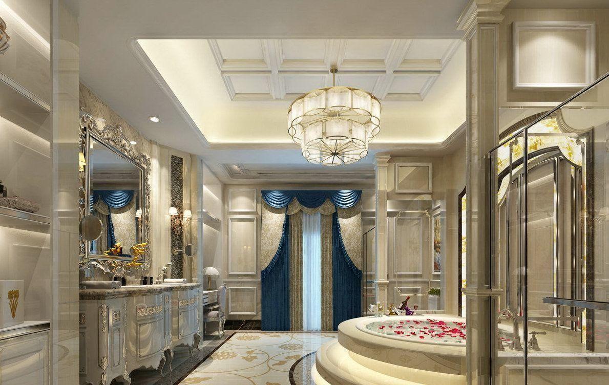 bathroom with big luxurious bath big mirror blue curtain