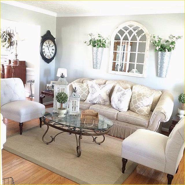 40 Cozy Farmhouse Mirror Living Room Design