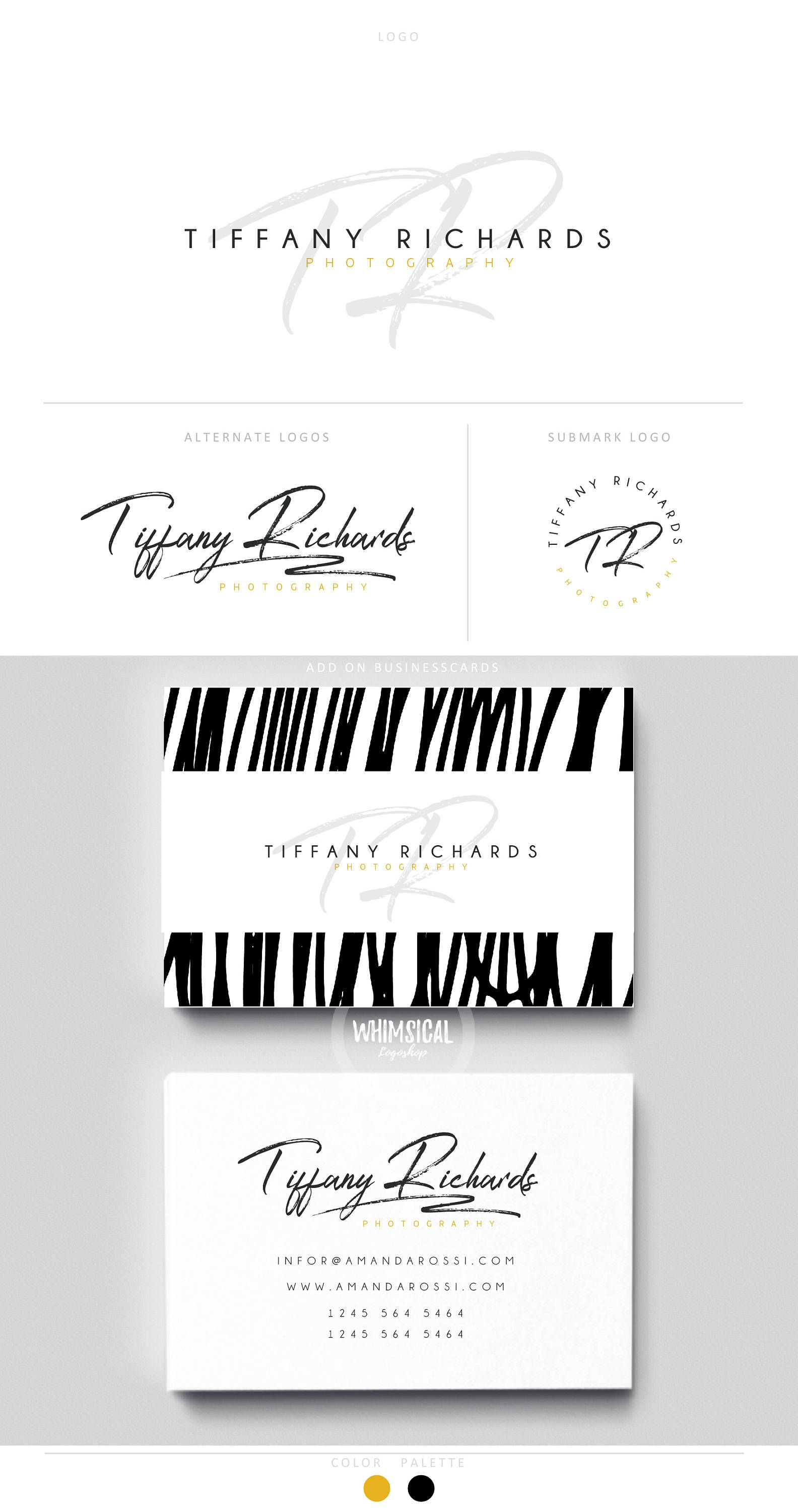 Signature Branding 3 Brush Gold Initials Business Cards Etsy
