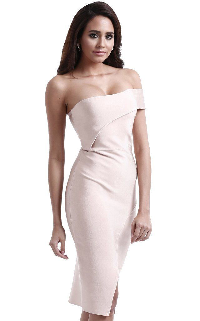 Nude Strapless Asymmetrical Bodycon Bandage Dress Bandage Dresses