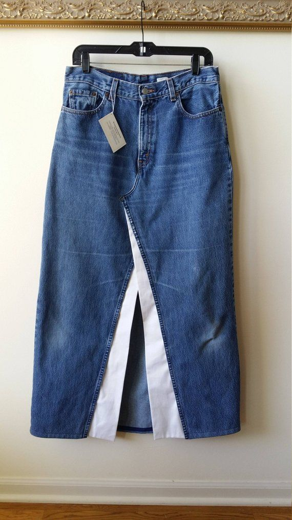 Reconstructed LEVI Denim Maxi Skirt with White Trim and Front Slit, Womens Size 12