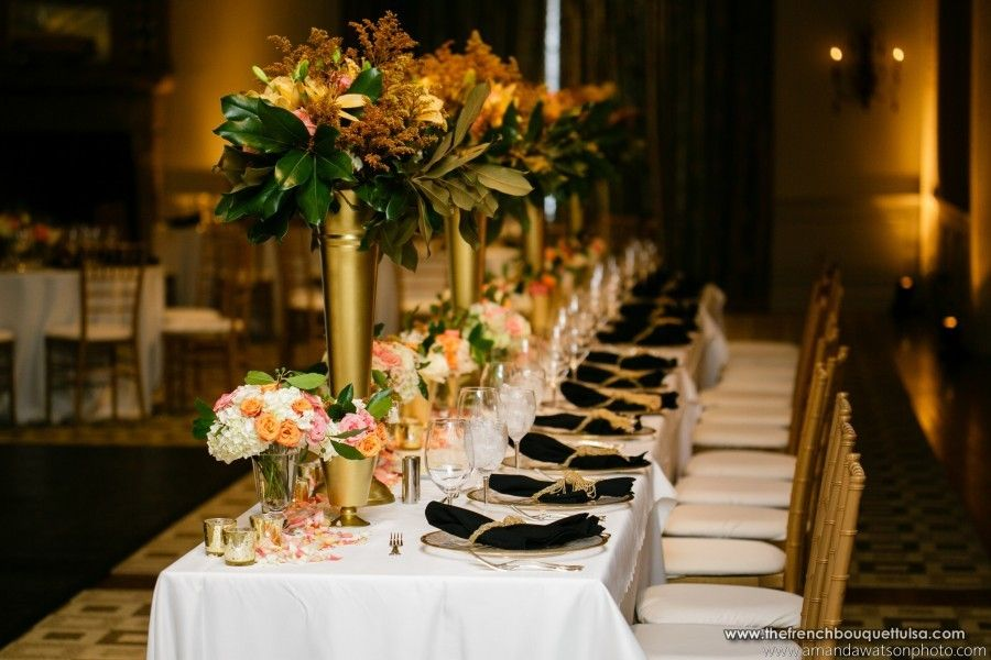 Peach and gold reception centerpiece google search