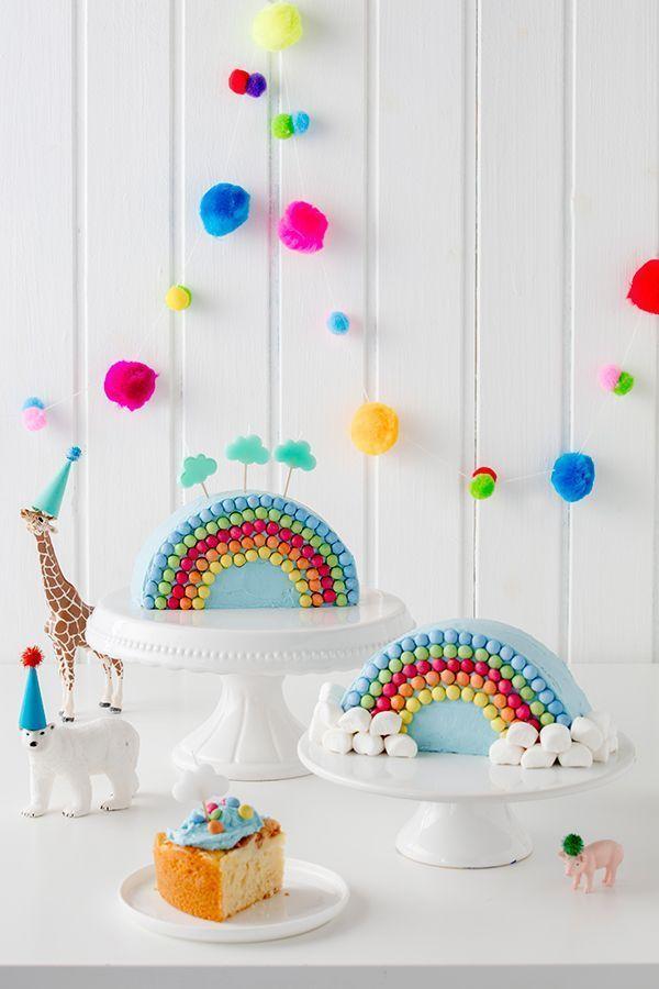 Regenbogenkuchen zum Kindergeburtstag #childrenpartyfoods