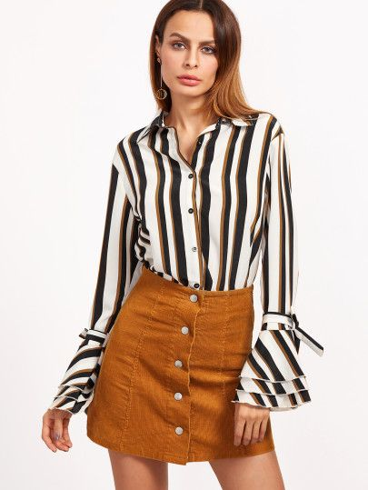 7805b273c8dc6 Multicolor Striped Belted Bell Sleeve Blouse