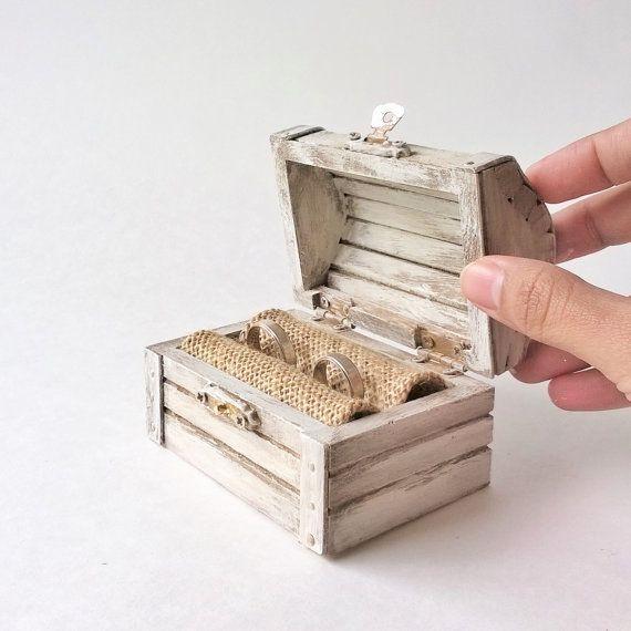 Ring Bearer Box White Treasure Chest