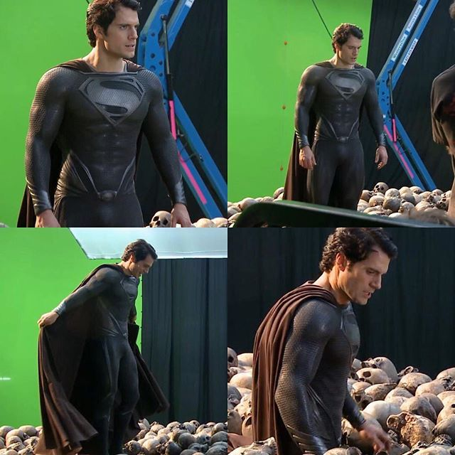 "the best look at the superman black suit in ""the man of steel"" behind"