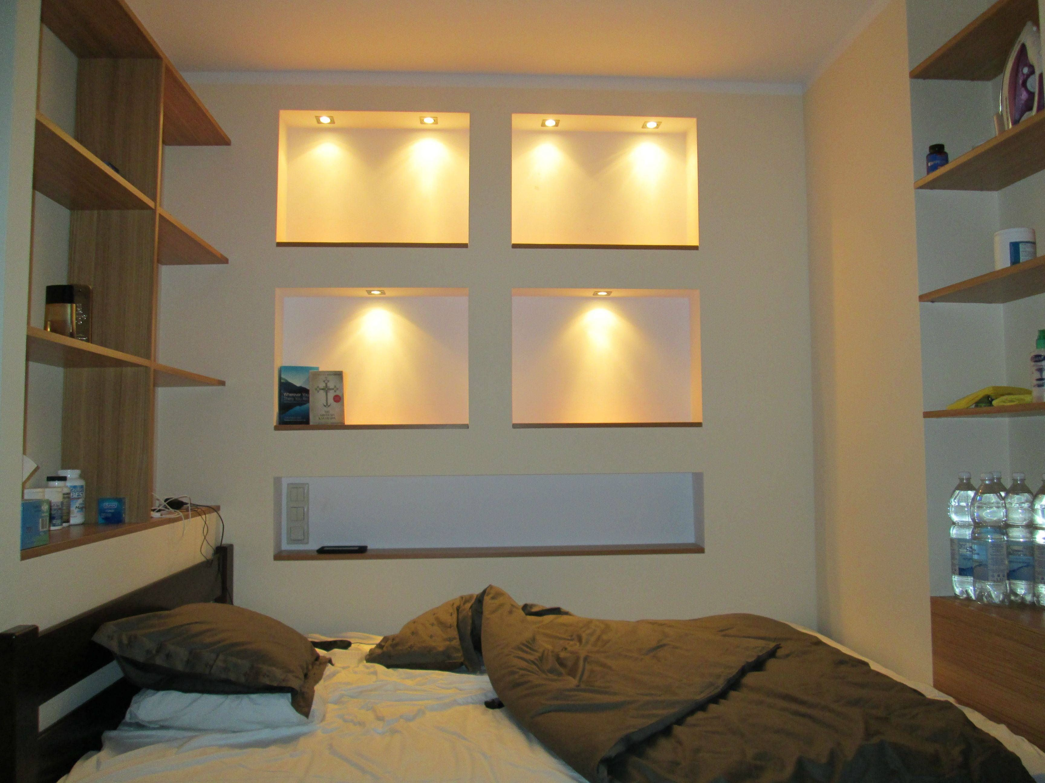 above bed lighting. Square Shelves Above Bed. Bed Lighting