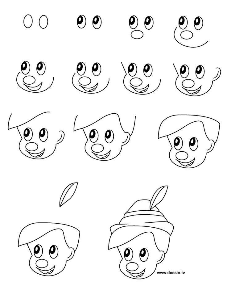 Wie zu zeichnen Disney-Figuren wie Pinocchio mit einfachen Schritt-für-Schritt-Anweisungen zu zeichnen lernen 3573