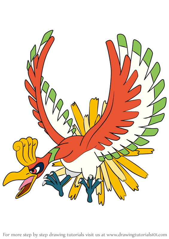 How To Draw Ho Oh From Pokemon Drawingtutorials101 Com Pokemon Drawings Moltres Pokemon Bird Pokemon
