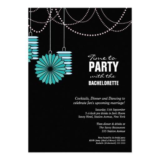 Bachelorette Party Aqua Blue Paper Lanterns Wheels Card – Bachelorette Party Invite Templates