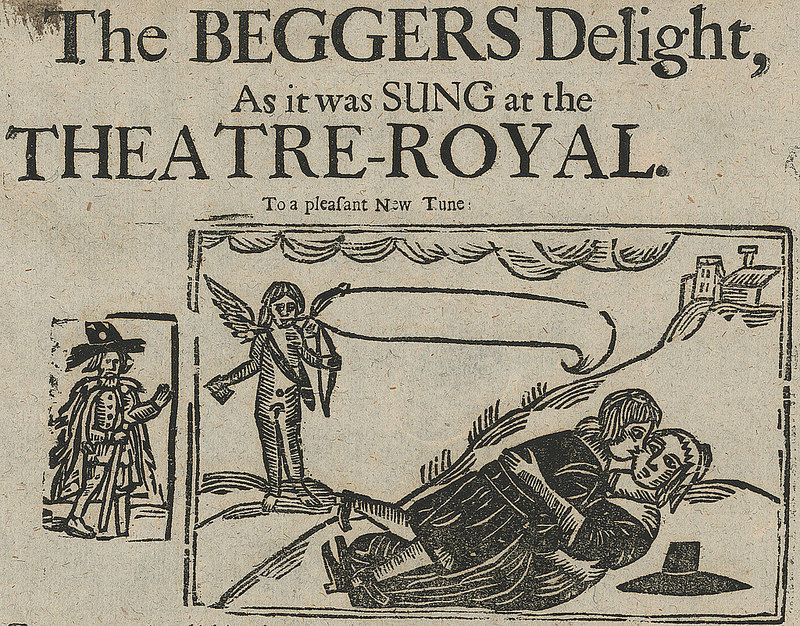 Detail From The Beggars Delight Woodcut Modern Prints Rare Books