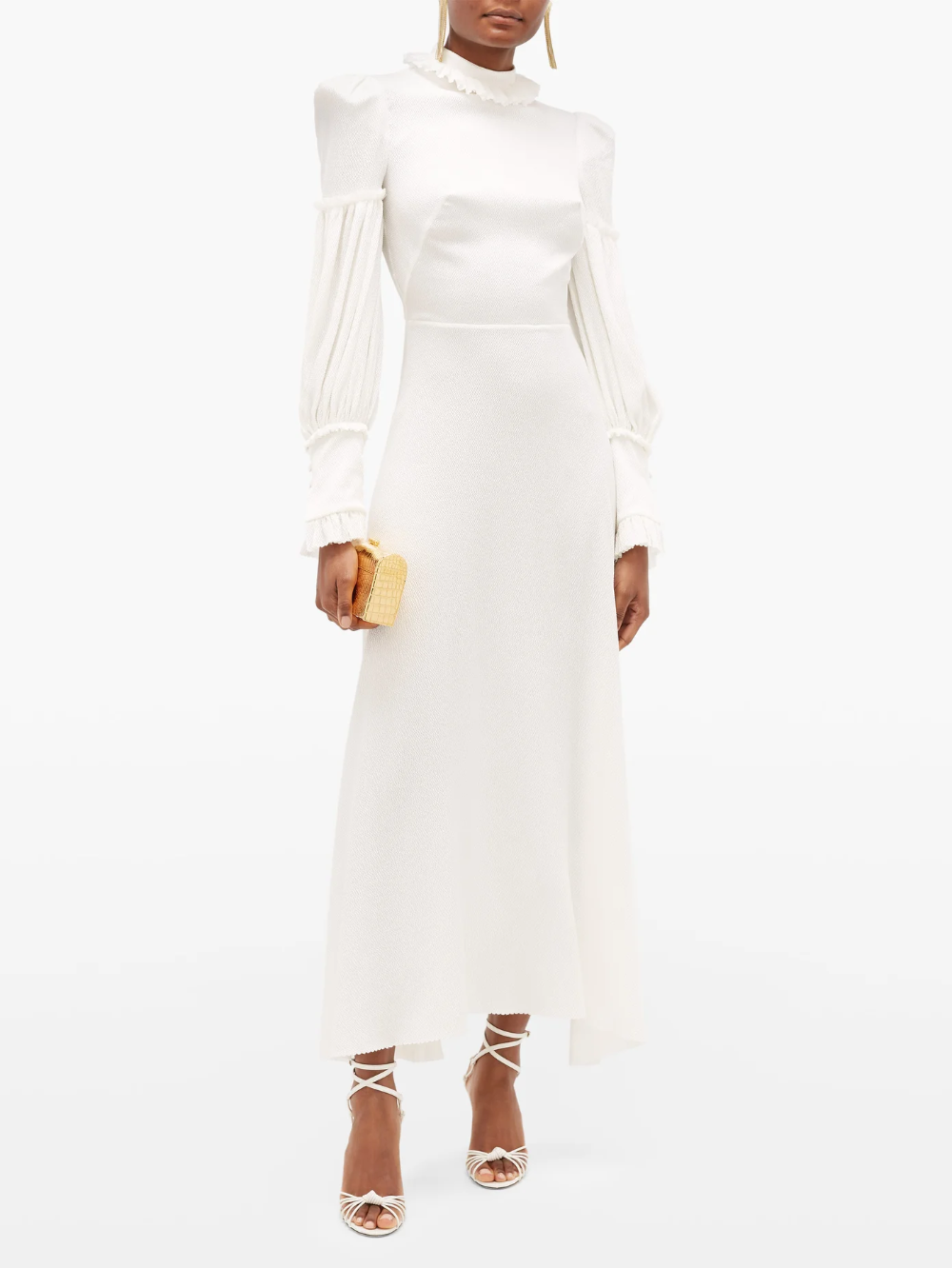 The Dahlia Hammered Silk Blend Dress The Vampire S Wife Matchesfashion Us Long Sleeve White Midi Dress White Maxi Dress Boho Long Sleeve Silk Dress [ 1332 x 1000 Pixel ]