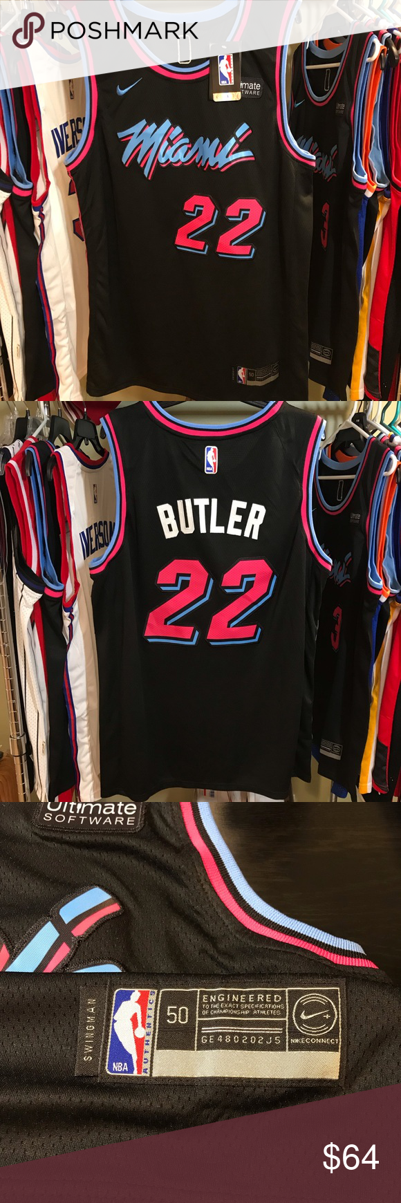 Jimmy Butler Miami Heat Nba Vice City Night Jersey Nike Swingman Size Mens Large Nwt Black Pink Blue To Represent Vintage M Miami Heat Nba Air Jordans Retro