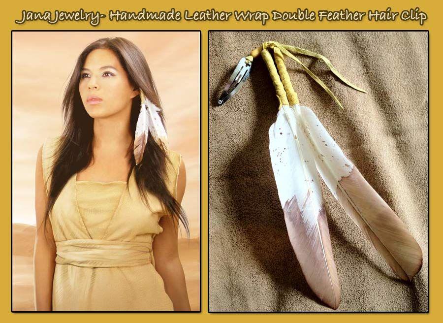 Native Feather Headband Handmade Leather Wrap Double Hair Clip 22 95