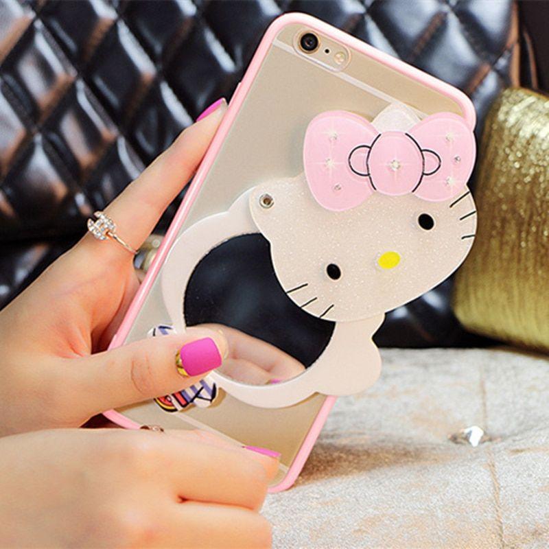 big sale d23c1 9a831 3D Cute Hello Kitty Mirror Cover For Huawei P8 lite 2017 P9 plus ...