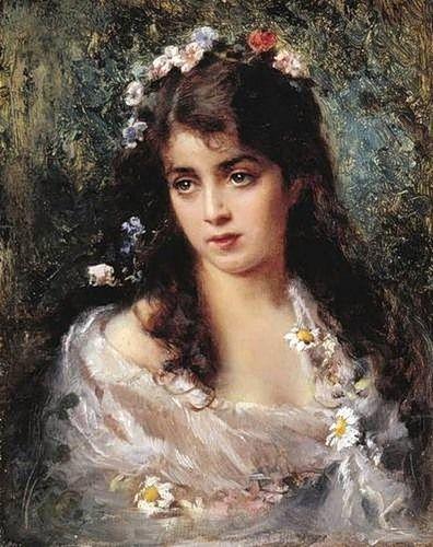 K.E.Makovsky-  ragazza col vestito a fiori
