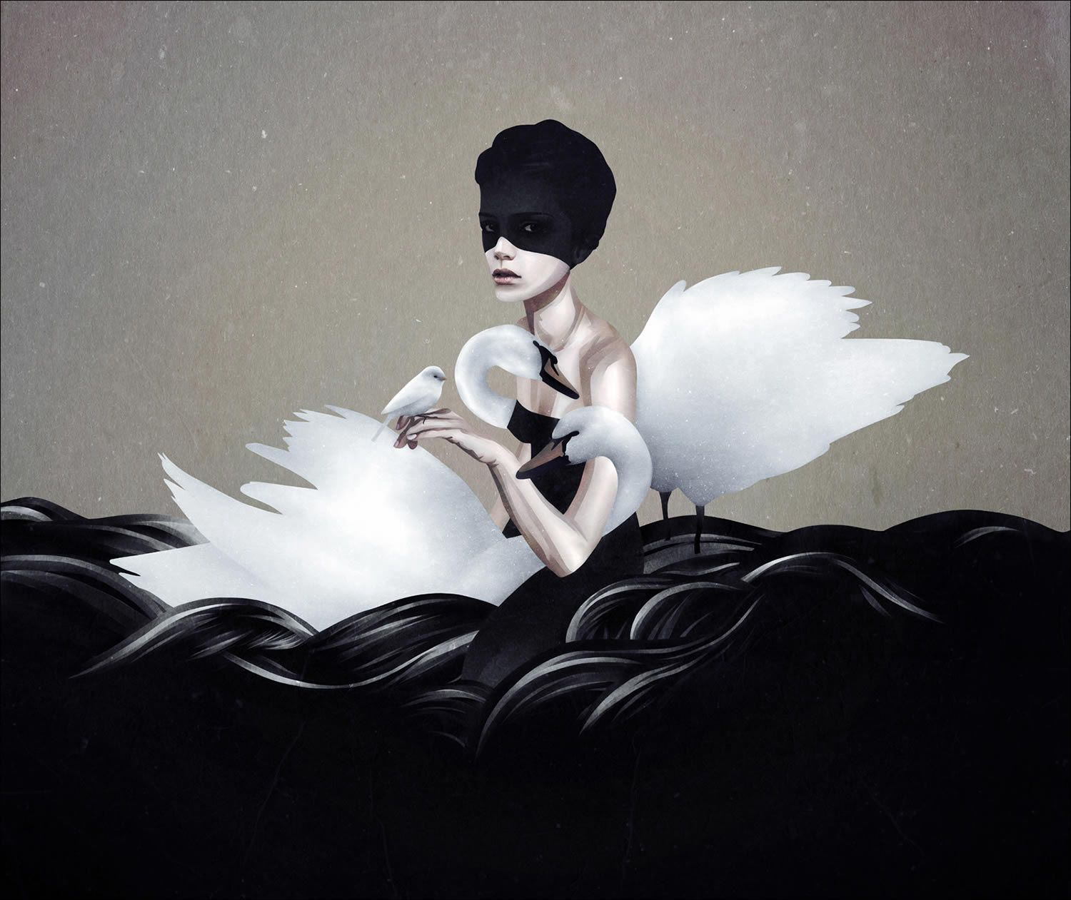 swans with girl, illustration by ruben ireland