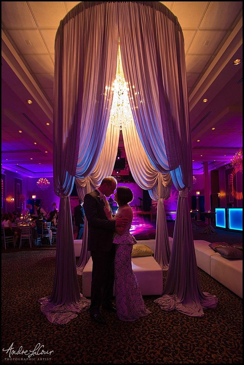 Anniversary Party By Andre Lacour Photography In Chicago Decor Purples Lighting Event Wedding Ceiling Wedding Drapery