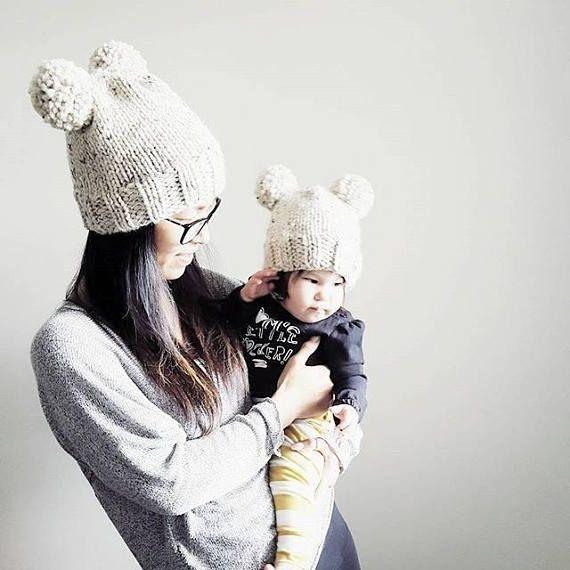 253d01fe Hand Knit DOUBLE POM POM Toque // Pom Pom Hat // Mommy & Me // Baby ...