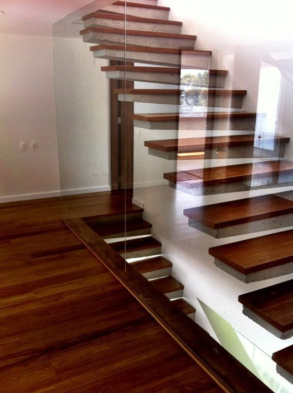 Brazilian Cherry Wood Used For Stairs That Look Like They Are Floating Glass Railing Stairs