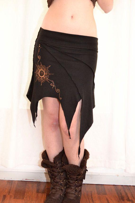 Pixie skirt. Elven skirt. Earthy skirt. Mandala skirt, handmade painted. Forest, gothic, festival, goa, overlocker
