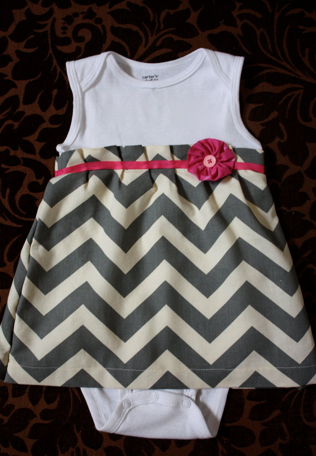 Chandal Bebe 18 Meses Onesie Dress Chevron Print Newborn 18 Month