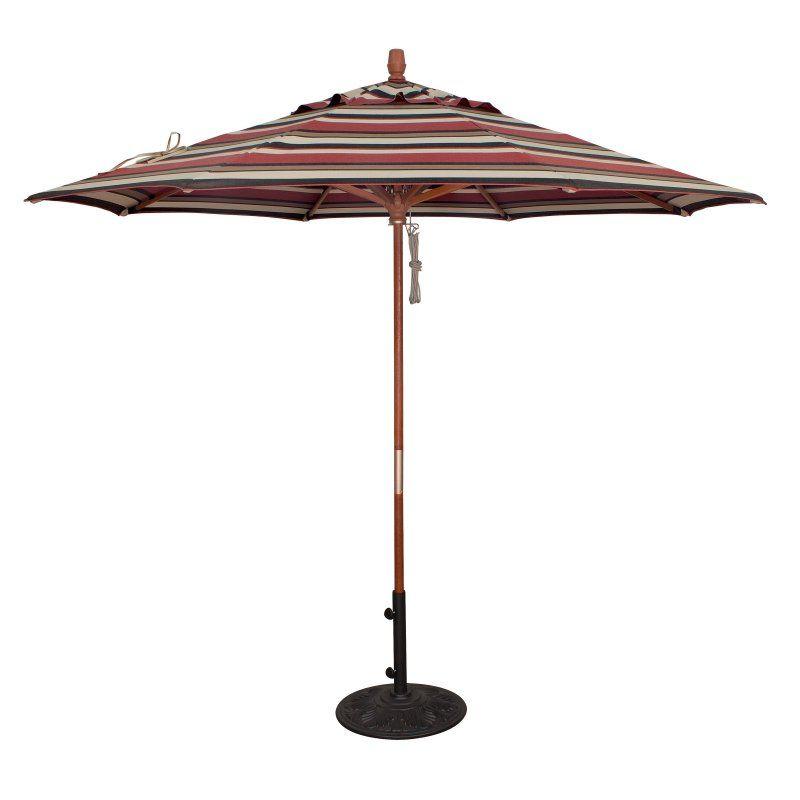 Treasure Garden 9 ft. Fashion Wood Pulley Patio Umbrella Sunbrella Rachel Stripe - Redwood - UM8091-5612