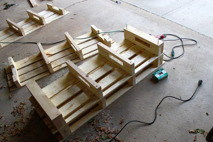 DIY Pallet Shoe Storage Bench ($32.13) | Between 3 SistersBetween 3 Sisters