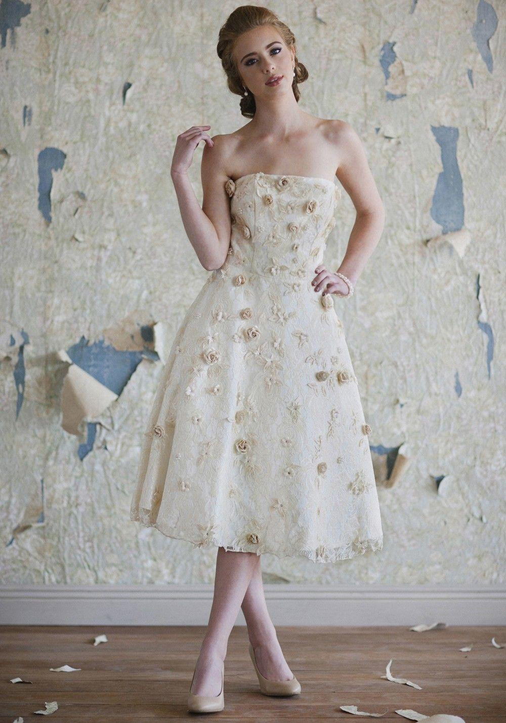 Amelie Floral Wedding Dress Tea Length Wedding Dresses
