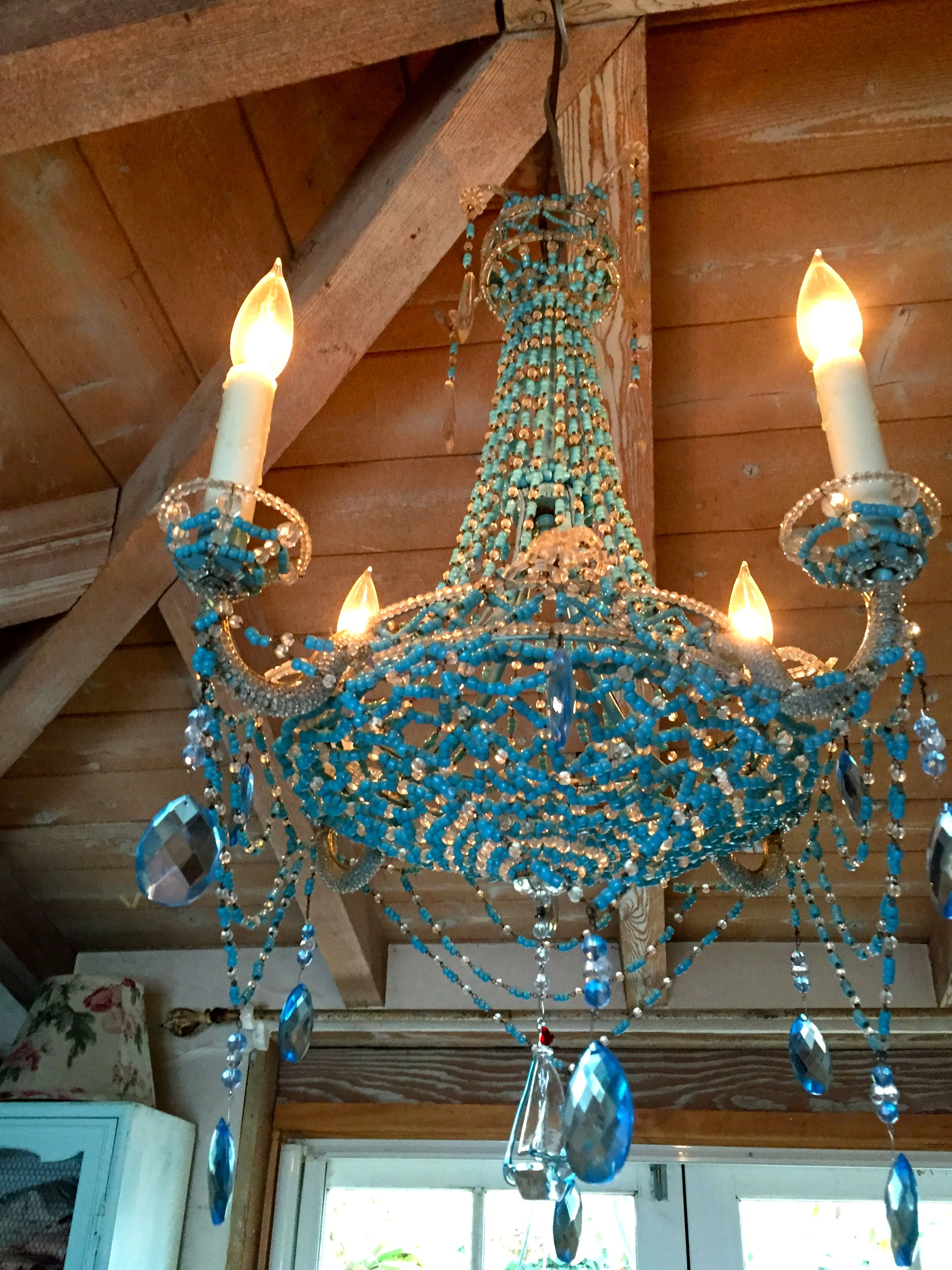 VINTAGE FRENCH BEADED BLUE CHANDELIER | Blue chandelier