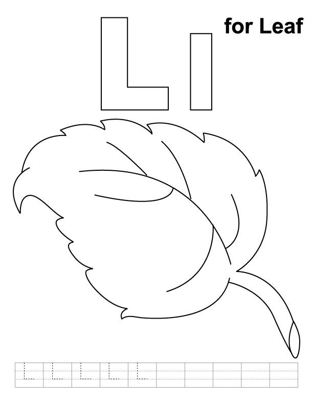 L For Leaf Coloring Page With Handwriting Practice Leaf Coloring